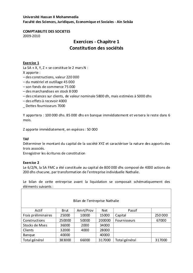 Université Hassan II MohammediaFaculté des Sciences, Juridiques, Economique et Sociales - Ain SebâaCOMPTABILITE DES SOCIET...