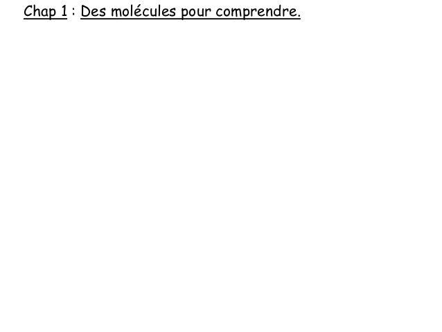 Chap 1 : Des molécules pour comprendre.