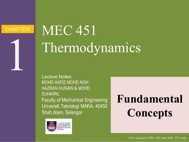 CHAPTER 1 MEC 451 Thermodynamics Fundamental Concepts Lecture Notes: MOHD HAFIZ MOHD NOH HAZRAN HUSAIN & MOHD SUHAIRIL Fac...
