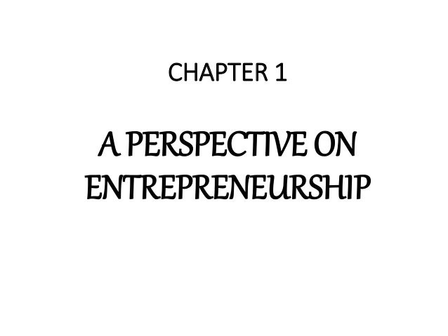CHAPTER 1 A PERSPECTIVE ON ENTREPRENEURSHIP