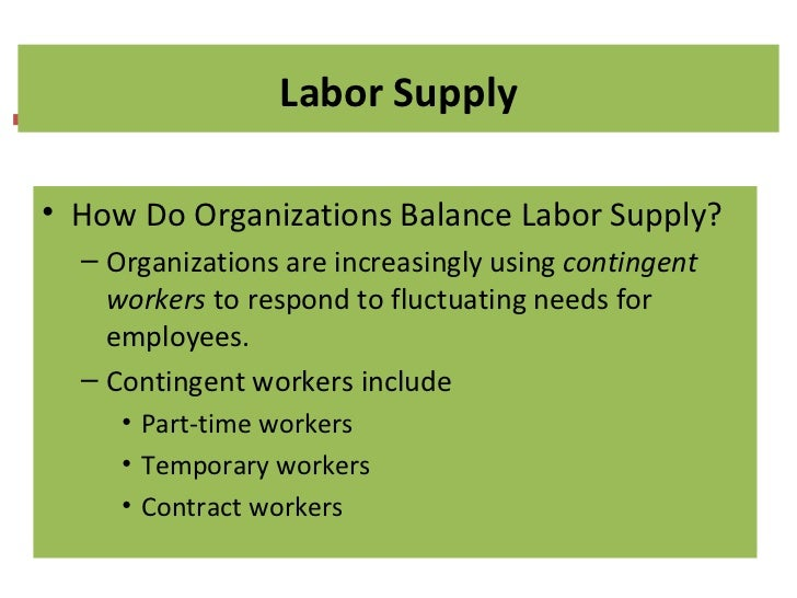 how do organizations balance labor supply 13111991 why do health labour market forces matter  6 the selection of the appropriate balance of regulations and policies  labor supply of health care.