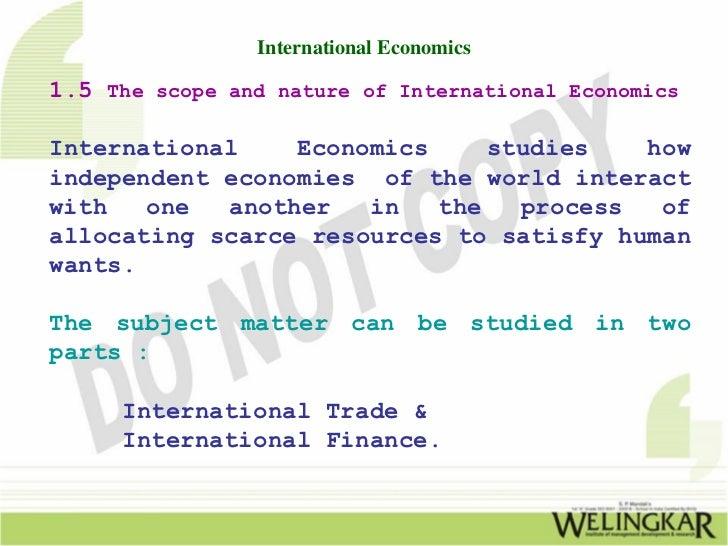 International Economics: It's Concept & Parts