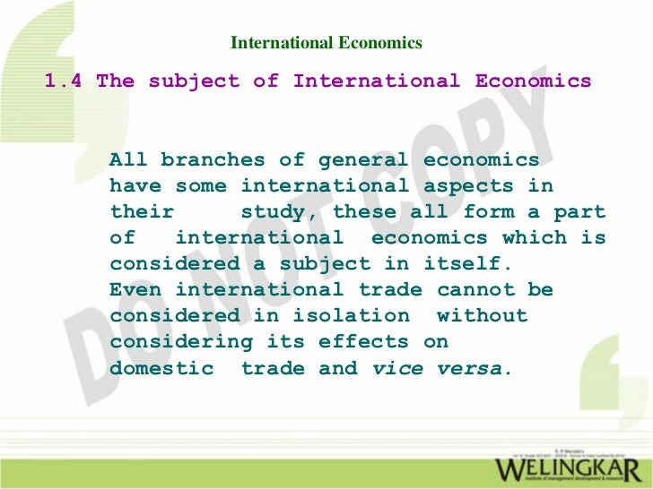 subject matter of international economics