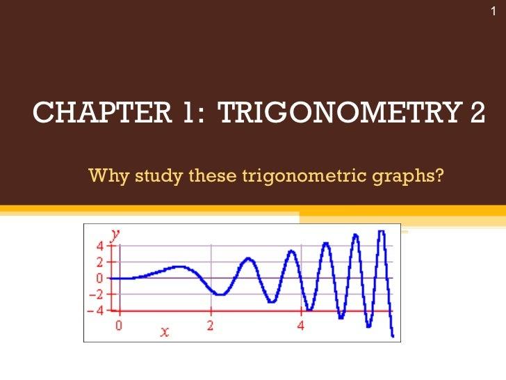 CHAPTER 1:  TRIGONOMETRY 2 Why study these trigonometric graphs? Chapter 1 : Trigonometry 2