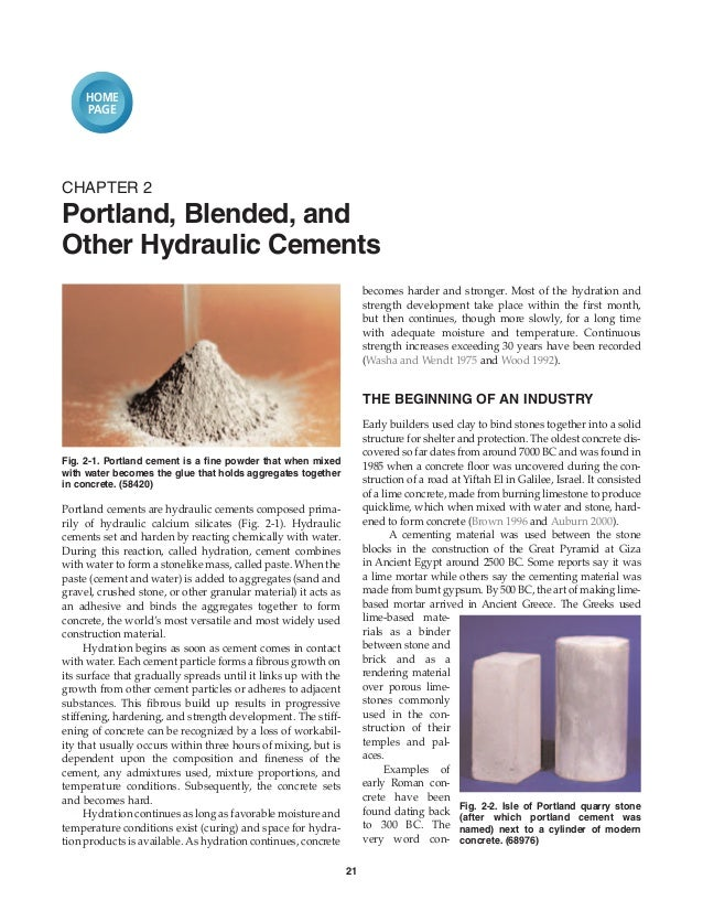 HOME     PAGECHAPTER 2Portland, Blended, andOther Hydraulic Cements                                                       ...