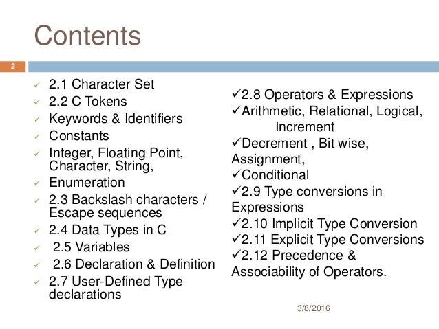 Variables, Data Types, Operator & Expression in c in detail Slide 2