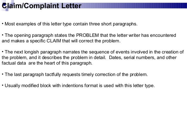 42 claimcomplaint letter most examples