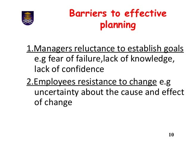 barriers to effective planning Concerns and barriers to effective planning and outlines the benefits and the  ' strategic planning is an organizational management activity that is used to set.