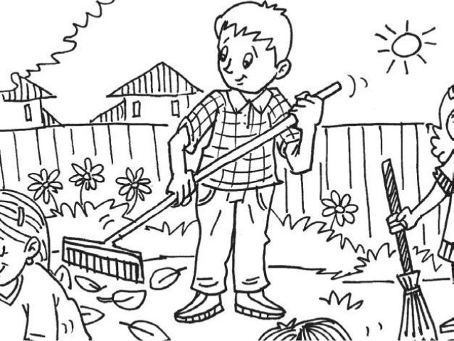 Sweeping Coloring Page Yard Coloring Pages