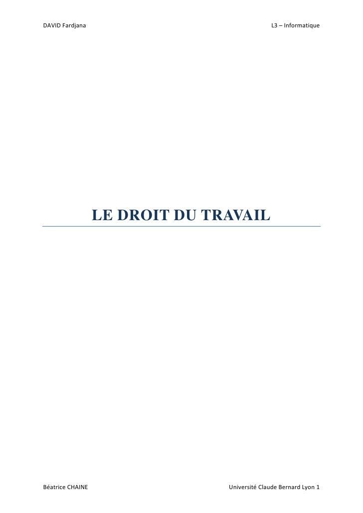 DAVID Fardjana                                L3 – Informatique                  LE DROIT DU TRAVAILBéatrice CHAINE       ...