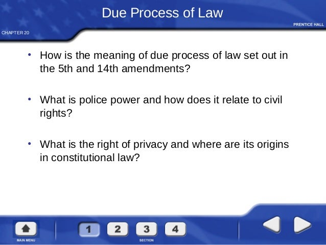 CHAPTER 20 Due Process of Law • How is the meaning of due process of law set out in the 5th and 14th amendments? • What is...