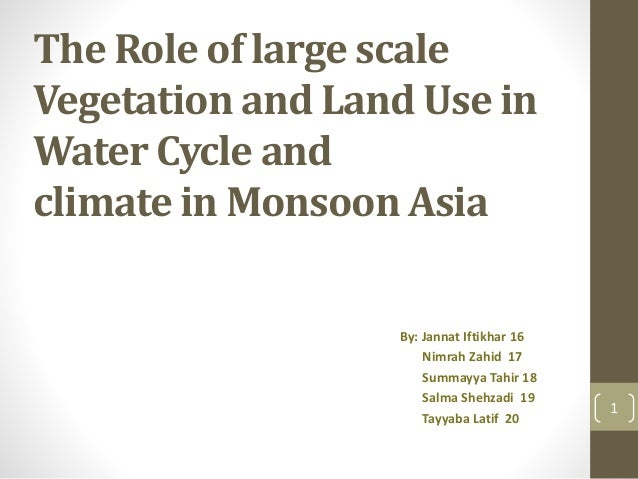 The Role of large scale Vegetation and Land Use in Water Cycle and climate in Monsoon Asia By: Jannat Iftikhar 16 Nimrah Z...