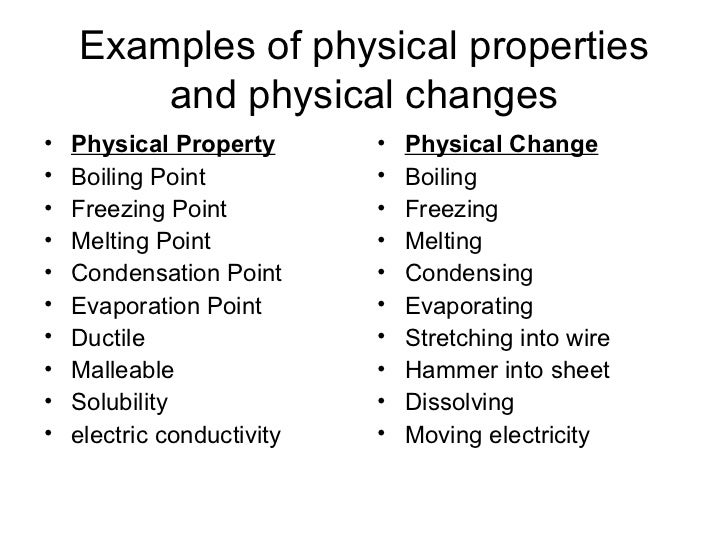 Chap 2 chem & phy properties What Are Some Examples Of Physical Properties