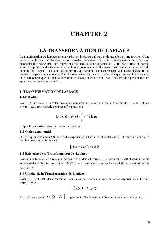 CHAPITRE 2 LA TRANSFORMATION DE LAPLACE La transformation de Laplace est une opération intégrale qui permet de transformer...