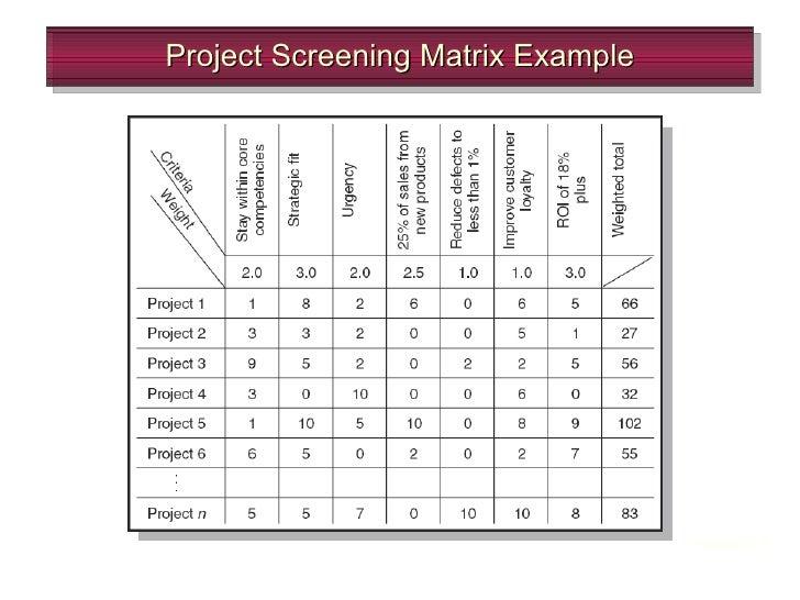 project matrix template
