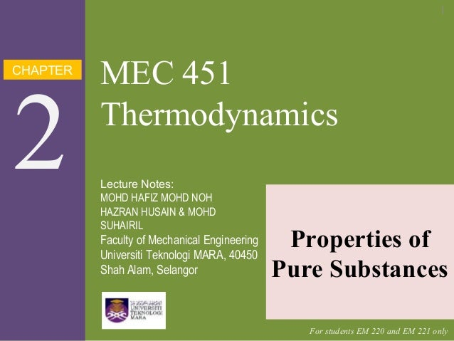 CHAPTER 2 MEC 451 Thermodynamics Properties of Pure Substances Lecture Notes: MOHD HAFIZ MOHD NOH HAZRAN HUSAIN & MOHD SUH...