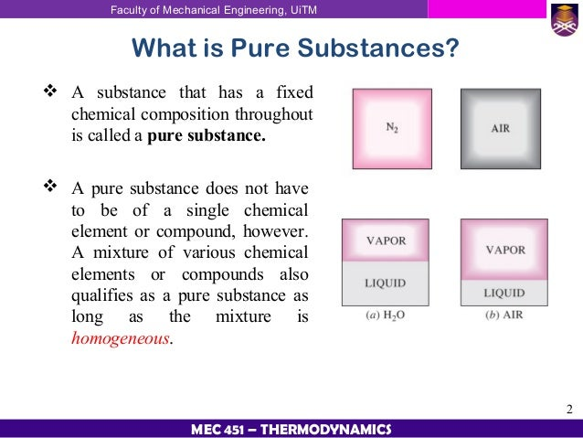 A pure substance or chemical substance is a material that has a constant composition (is homogeneous) and has consistent properties throughout the sample. A pure substance participates in a chemical reaction to form predictable products. In chemistry, a pure substance consists only of one type of atom, molecule, or compound.