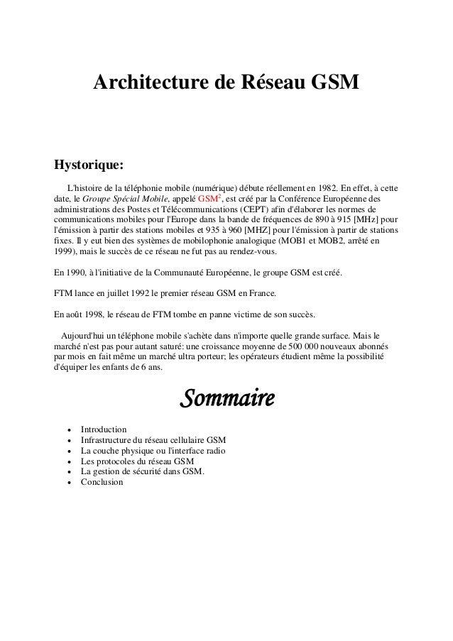 Architecture de Réseau GSM Hystorique: L'histoire de la téléphonie mobile (numérique) débute réellement en 1982. En effet,...