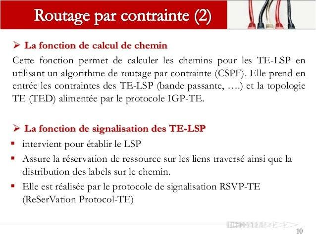 10  La fonction de calcul de chemin Cette fonction permet de calculer les chemins pour les TE-LSP en utilisant un algorit...