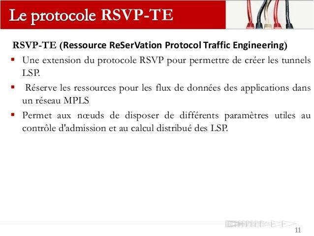 RSVP-TE (Ressource ReSerVation Protocol Traffic Engineering)  Une extension du protocole RSVP pour permettre de créer les...