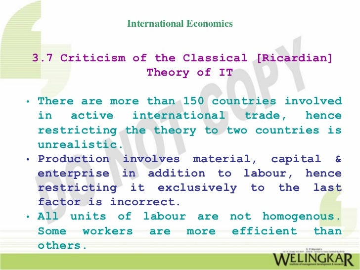 Comparison between Classical Theory and Modern Theory of International Trade