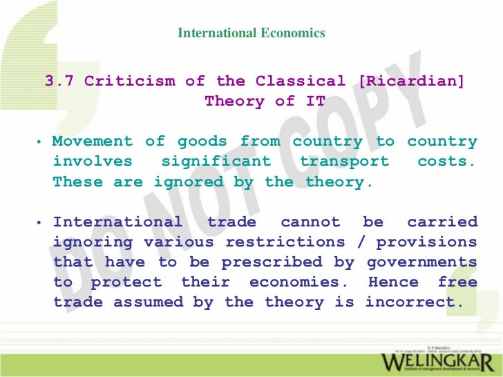 Classical Theory of International Trade