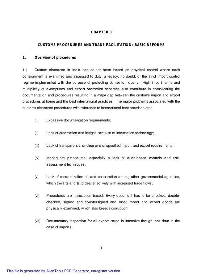CHAPTER 3                    CUSTOMS PROCEDURES AND TRADE FACILITATION : BASIC REFORMS         1.      Overview of procedu...