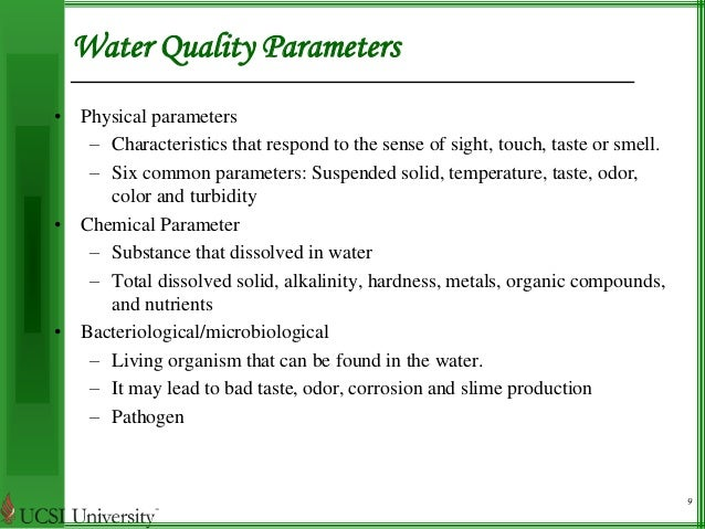 Physical Parameters Of Drinking Water