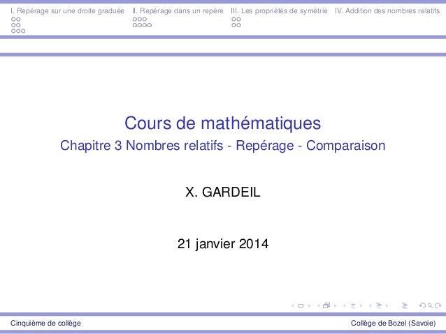 I. Repérage sur une droite graduée II. Repérage dans un repère III. Les propriétés de symétrie IV. Addition des nombres re...