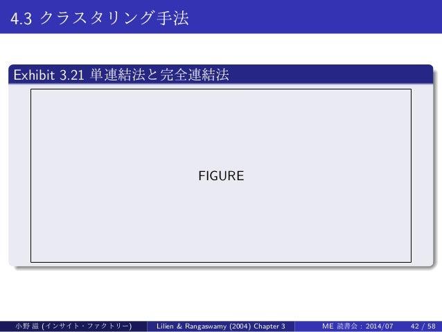 4.3 クラスタリング手法 . Exhibit 3.21 単連結法と完全連結法 .. ...... FIGURE 小野 滋 (インサイト・ファクトリー) Lilien & Rangaswamy (2004) Chapter 3 ME 読書会 :...