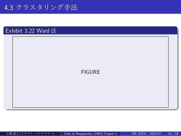 4.3 クラスタリング手法 . Exhibit 3.22 Ward 法 .. ...... FIGURE 小野 滋 (インサイト・ファクトリー) Lilien & Rangaswamy (2004) Chapter 3 ME 読書会 : 201...