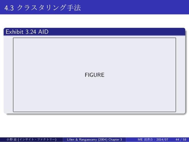 4.3 クラスタリング手法 . Exhibit 3.24 AID .. ...... FIGURE 小野 滋 (インサイト・ファクトリー) Lilien & Rangaswamy (2004) Chapter 3 ME 読書会 : 2014/0...