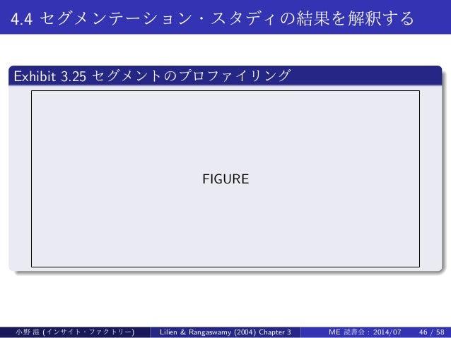 4.4 セグメンテーション・スタディの結果を解釈する . Exhibit 3.25 セグメントのプロファイリング .. ...... FIGURE 小野 滋 (インサイト・ファクトリー) Lilien & Rangaswamy (2004) C...