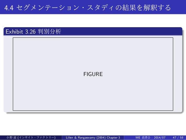 4.4 セグメンテーション・スタディの結果を解釈する . Exhibit 3.26 判別分析 .. ...... FIGURE 小野 滋 (インサイト・ファクトリー) Lilien & Rangaswamy (2004) Chapter 3 M...