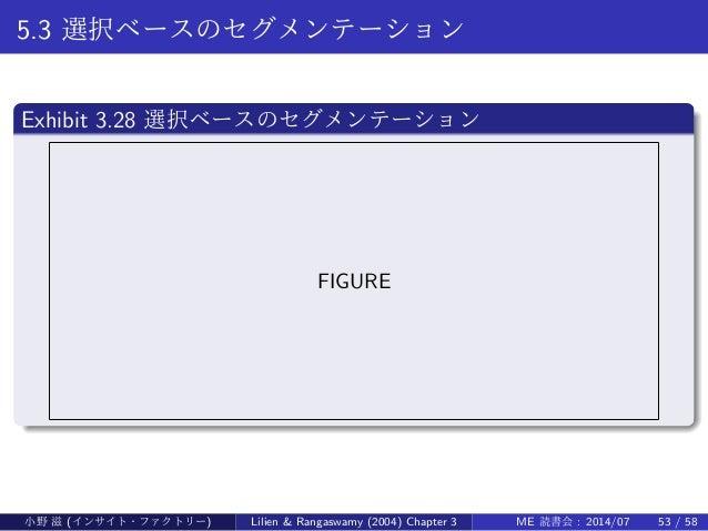 5.3 選択ベースのセグメンテーション . Exhibit 3.28 選択ベースのセグメンテーション .. ...... FIGURE 小野 滋 (インサイト・ファクトリー) Lilien & Rangaswamy (2004) Chapter...