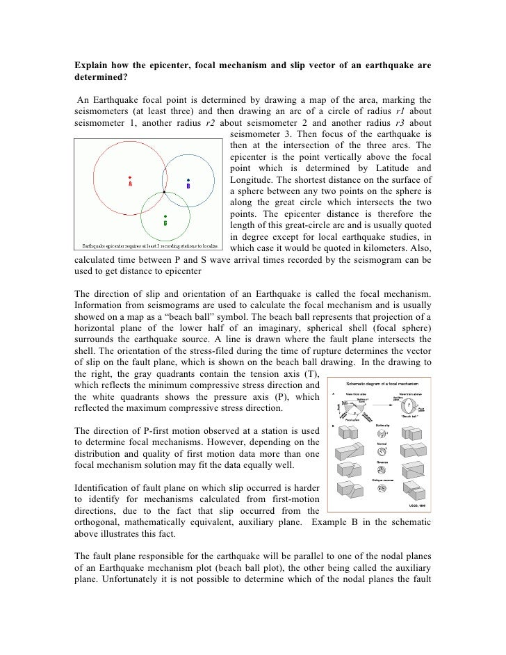 Explain how the epicenter, focal mechanism and slip vector of an earthquake are determined?   An Earthquake focal point is...