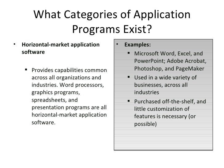categories of application software and examples