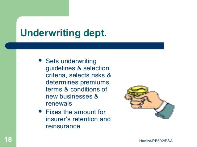Underwriting department