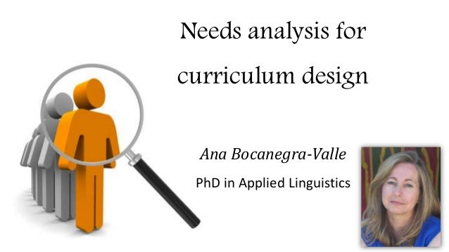 Needs analysis for curriculum design Ana Bocanegra-Valle PhD in Applied Linguistics