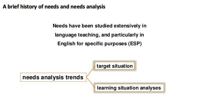 Needs have been studied extensively in language teaching, and particularly in English for specific purposes (ESP) A brief ...