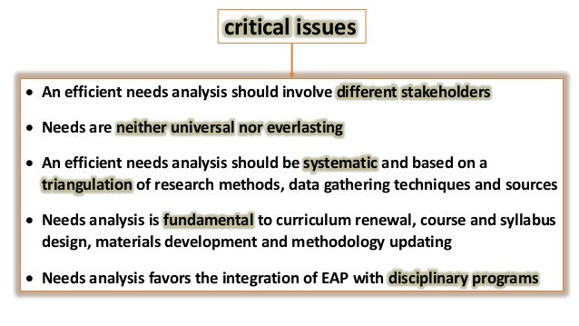 An efficient needs analysis should involve different stakehold Data should be gathered from different stakeholder groups d...