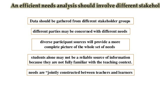 Needs are neither universal nor everlasting Needs vary across educational contexts, disciplines and student groups the far...