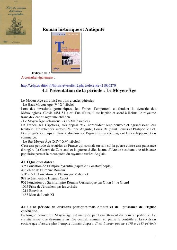 Roman historique et Antiquité      Extrait de :A consulter également :http://crdp.ac-dijon.fr/librairie/visufich2.php?refe...