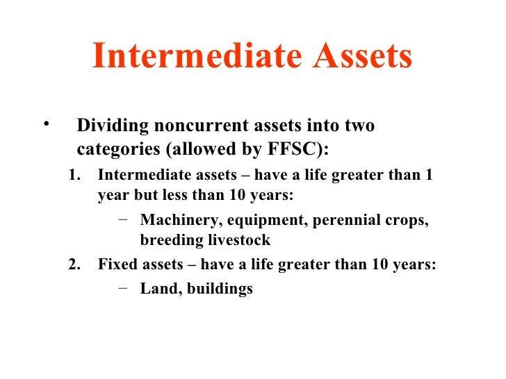Intermediate Assets <ul><li>Dividing noncurrent assets into two categories (allowed by FFSC): </li></ul><ul><ul><li>Interm...