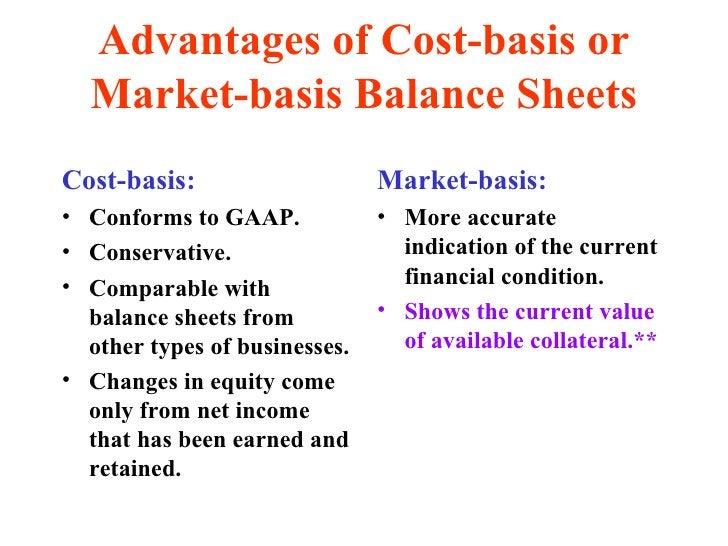 Advantages of Cost-basis or Market-basis Balance Sheets <ul><li>Cost-basis: </li></ul><ul><li>Conforms to GAAP. </li></ul>...