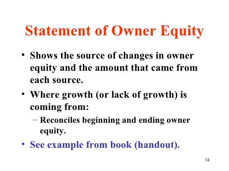 Statement of Owner Equity <ul><li>Shows the source of changes in owner equity and the amount that came from each source. <...