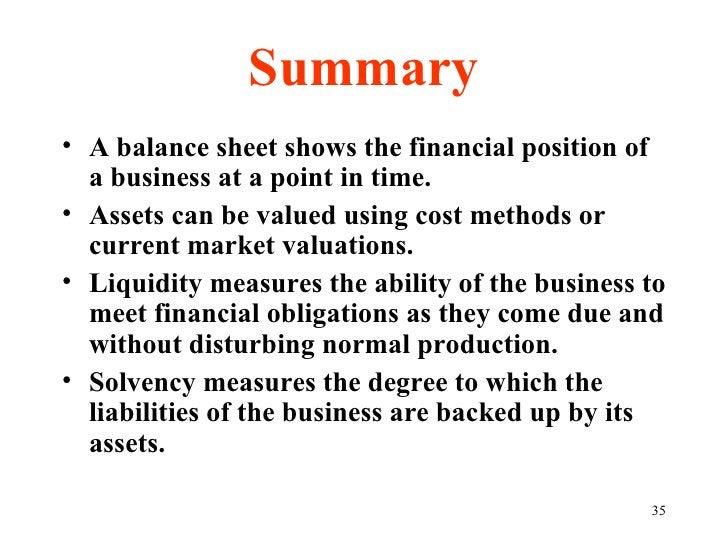 Summary <ul><li>A balance sheet shows the financial position of a business at a point in time. </li></ul><ul><li>Assets ca...