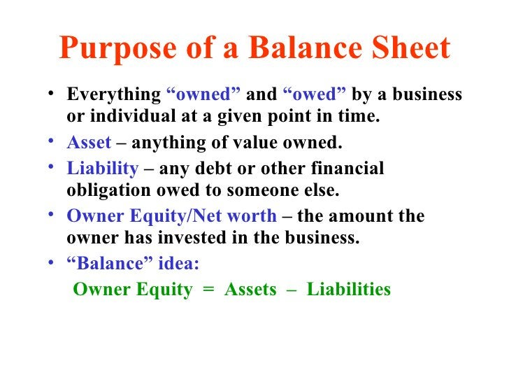"""Purpose of a Balance Sheet <ul><li>Everything  """"owned""""  and  """"owed""""  by a business or individual at a given point in time...."""
