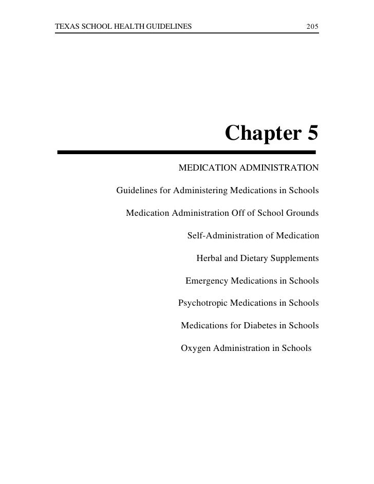 TEXAS SCHOOL HEALTH GUIDELINES                              205                                        Chapter 5          ...