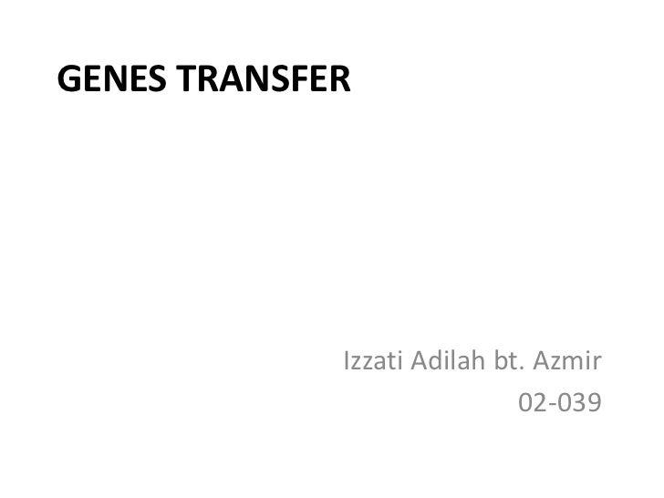 GENES TRANSFER             Izzati Adilah bt. Azmir                             02-039